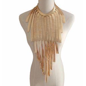 Gold Metal Tassel Chain Choker Gold Chunky Collar